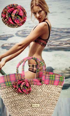 Para quedarse en la playa, capazo #panier #basket #cuadros