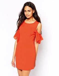 Jovonna Cold Shoulder Dress with Chiffon Frill Sleeves