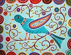 Folk Bird... Abstract folk art acrylic original painting on stretched canvas by Karla G =)