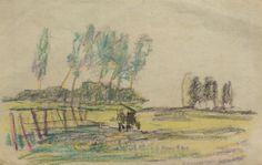 Arnold Koning - schets van een landschap met een koetje