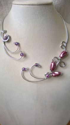 WEDDING JEWELRY SET, Wire necklace and earrings, wire jewelry, Lilac jewelry set, Bridal jewelry set,