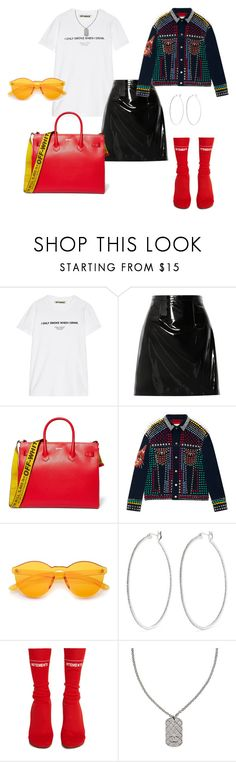 """I Only Smoke When I Drink"" by fashioncomplex ❤ liked on Polyvore featuring Off-White, Christopher Kane, Gucci, Kenneth Jay Lane, Vetements and Chanel"