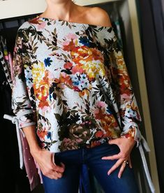 Off shoulder batwing Leather Jeggings, Bat Wings, Floral Tops, Change, Tie, Knitting, Shoulder, Sleeves, Summer