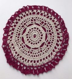 Potholder Hand-Crocheted Lace Doily Wine and Ecru
