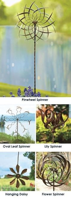 Let the wind set these copper-plated Garden Spinners awhirl: love these great spinners