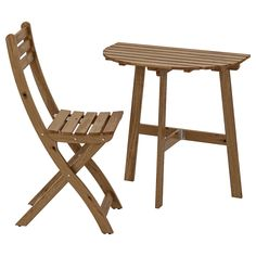 IKEA - ASKHOLMEN, Wall table & folding chair, outdoor, gray-brown stained, Takes little room to store as both the table and the chair fold flat. Wall Table Folding, Outdoor Folding Chairs, Chair Pads, Chair Cushions, Small Outdoor Spaces, Ikea Family, Eames Chairs, Acacia Wood, Dining Set