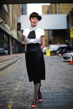 london...alexander mcqueen skirt and cravat, with a vivian westwood shirt, shoes by miu miu, stockings by agent provocateur, and the necklace is ben day