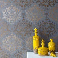 Moroccan Trellis Wall Stencils | Mughal Trellis Moroccan Stencil | Royal Design Studio