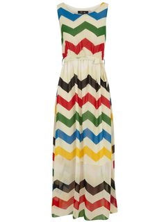 Dorothy Perkins -Beige zigzag maxi dress ~ How fun is this dress?!  And it's sheer from the knee down