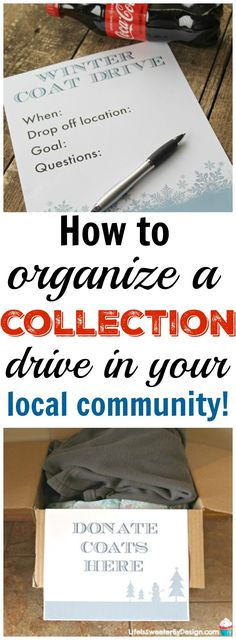 How to organize a collection drive in your local community! These tips will help you support local charities and give back to others. Organizing a donation drive is a great family event during the holidays. Charity Gifts, Charity Event, Charity Ideas, Charity Organizations, Local Charities, Coat Drive, Blessing Bags, Organization Hacks, Organizing Tips