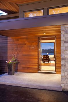 Avant Garde Retreat by Eskuche Design  //  welcoming entry, similar materials, front porch idea