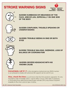 Stroke Warning Signs: these are good to know considering my mom had a stroke when she was only 23 yrs old always be aware of what your body is trying to tell you!!