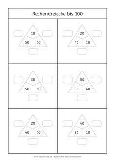 Additon until 100 - Rechendreiecke bis 100 (nur Zehnerzahlen) #rechnen #Mathe #freebie