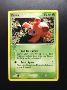 Paras - Fire Red Leaf Green Set (72/112); Common; Yuka Morii Clay Pokemon, Pokémon Cards, Red Leaves, Old And New, Fire, Illustration, Green, Collection, Illustrations