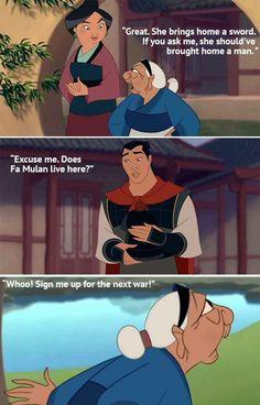A classic moment from Mulan. A classic moment from Mulan. Funny Disney Jokes, Disney Memes, Disney Quotes, Disney Cartoons, Disney Facts, Disney Pixar, Disney And Dreamworks, Disney Magic, Walt Disney