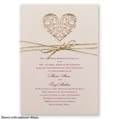 Lacy Heart - Laser-cut Wedding Invitation - Shimmer Paper Floral Heart at Invitations By David's Bridal