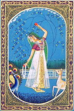 Ragini+Vasanta+(Miniature+Painting+on+Silk+Cloth+-+Unframed)