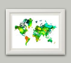 Items similar to World Map Print Green Watercolor Map Wall Art Travel Map World Map Print Living Room Wall Art Green Teal Map Travel Art Map Gifts Art Poster on Etsy Map Wall Decor, Map Wall Art, Map Art, Wall Stencil Patterns, Watercolor Map, Green Watercolor, Water Color World Map, Art Prints Quotes, Living Room Art
