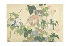 Frog and Morning Glories, C. 1832 Giclée-tryk by Katsushika Hokusai at Art.com