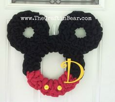 Items similar to Mickey Mouse wreath - Burlap wreath - Countdown to Disney - Personalized Mickey - party decor - nursery decor - Minnie mouse wreath on Etsy Mickey Mouse Wreath, Mickey Mouse Crafts, Mickey Mouse Christmas, Disney Diy, Disney Crafts, Diy Wreath, Wreath Burlap, Wreath Ideas, Tulle Wreath