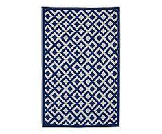 Tapis réversible MARINA plastique, bleu et blanc - 180*270
