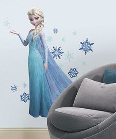 This Frozen Elsa Peel & Stick Giant Wall Decal by Frozen is perfect! #zulilyfinds