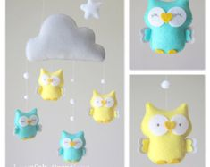 Baby-mobile mobile Owl Babywiege mobile Baby von lovefeltmobiles