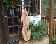 "LOCAL Pick Up Bedford, NH Large Vintage Paris Mfg Co Speedaway Sled 60"" L Standard Hardware, Nashua, NH/Winter Holiday Decor/Christmas"