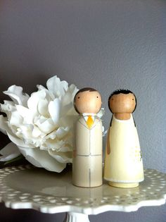 Custom Wooden Cake Toppers With Flowers-Hand Painted Wooden Dolls  $55.00