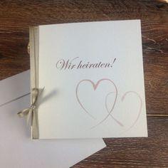 Hochzeitseinladung-+zwei+Herzen-+inkl+Kuvert+von+*Formatreich-Schönes+aus+Papier*+auf+DaWanda.com