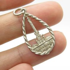 Vtg 925 Sterling Silver Water Tower Chicago Charm Pendant