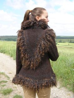 """Купить Валяная шубка """"Эко"""" - коричневый, одежда для женщин, одежда на заказ…"""
