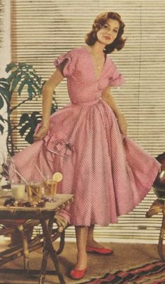 Red gingham 50s dress.