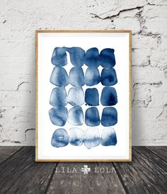 Blue Abstract Print, Modern Minimalist, Watercolour, Navy Blue, Brush Stroke Wall Art, Printable Digital Download, Large Poster Ink Painting