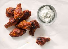 Bourbon-Glazed Chicken Drumettes with Blue Cheese Dipping Sauce Recipe…
