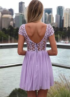 Purple Embroidered Lace Top Dress with Tulle Pleated Skirt<br/><div class='zoom-vendor-name'>By <a href=http://www.ustrendy.com/Xenia>Xenia</a></div>