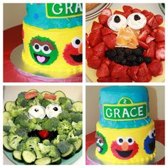 Sesame Street-themed Birthday Party food. Elmo veggie tray. Oscar veggie tray. @Megan Maxwell