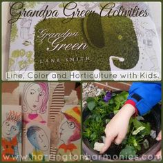 Activities to go with the book Grandpa Green: Line, Color Harmonies, and Horticulture. | Harrington Harmonies