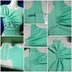 Bow drapes ram: «: credits to the owner Drape Dress Pattern, Bodice Pattern, Dress Sewing Patterns, Blouse Patterns, Clothing Patterns, Blouse Designs, Fashion Sewing, Diy Fashion, Ideias Fashion