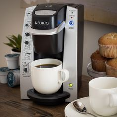 Create perfect beverages one at a time with this Keurig B130 DeskPro coffee maker. Simply fill the reservoir and add your favorite K-cup coffee, tea, or cocoa, and in under three minutes, you'll be enjoying a steaming-hot eight-ounce beverage.