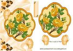 PEACH ROSES BUTTERFLIES ON A WAVY EDGE on Craftsuprint - Add To Basket!