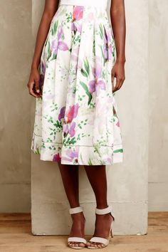 Hibiscus Pleated Midi Skirt - anthropologie.com