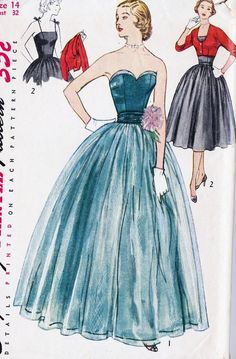 1950s Misses evening gown sewing pattern illustration