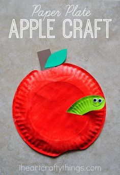Paper Plate Apple Craft with an adorable worm sticking out of it. Perfect Fall or back to school craft for kids. Paper Plate Apple Craft with an adorable worm sticking out of it. Perfect Fall or back to school craft for kids. Paper Plate Art, Paper Plates, Daycare Crafts, Classroom Crafts, Kids Daycare, Kindergarten Crafts, Fall Crafts For Kids, Art For Kids, Craft Kids