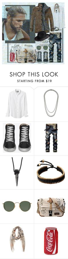 """""""When the Stars Go Blue"""" by lablanchenoire ❤ liked on Polyvore featuring Banana Republic, Topman, Whiteley, Anja, Yves Saint Laurent, King Baby Studio, Ray-Ban, Gucci, Overland Sheepskin Co. and men's fashion"""