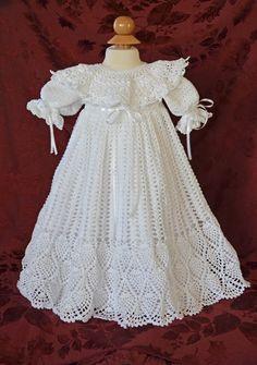 Spectacular hand crafted christening/baptism gown from Cherry Hill Crochet http://cherryhillcrochet.com