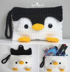 Crochet Penguin Pouch   Add an adorable spin to your pencil case or clutch bag with this free pattern