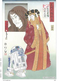 Star-Wars-Japanese-Prints4-740x1024 using traditional Japanese Ukiyo-e method