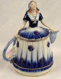 "Dutch Woman ""Limoges China"" Tea Pot -"