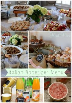 Italian Appetizer Menu great for showers, supper clubs...any party really!!!